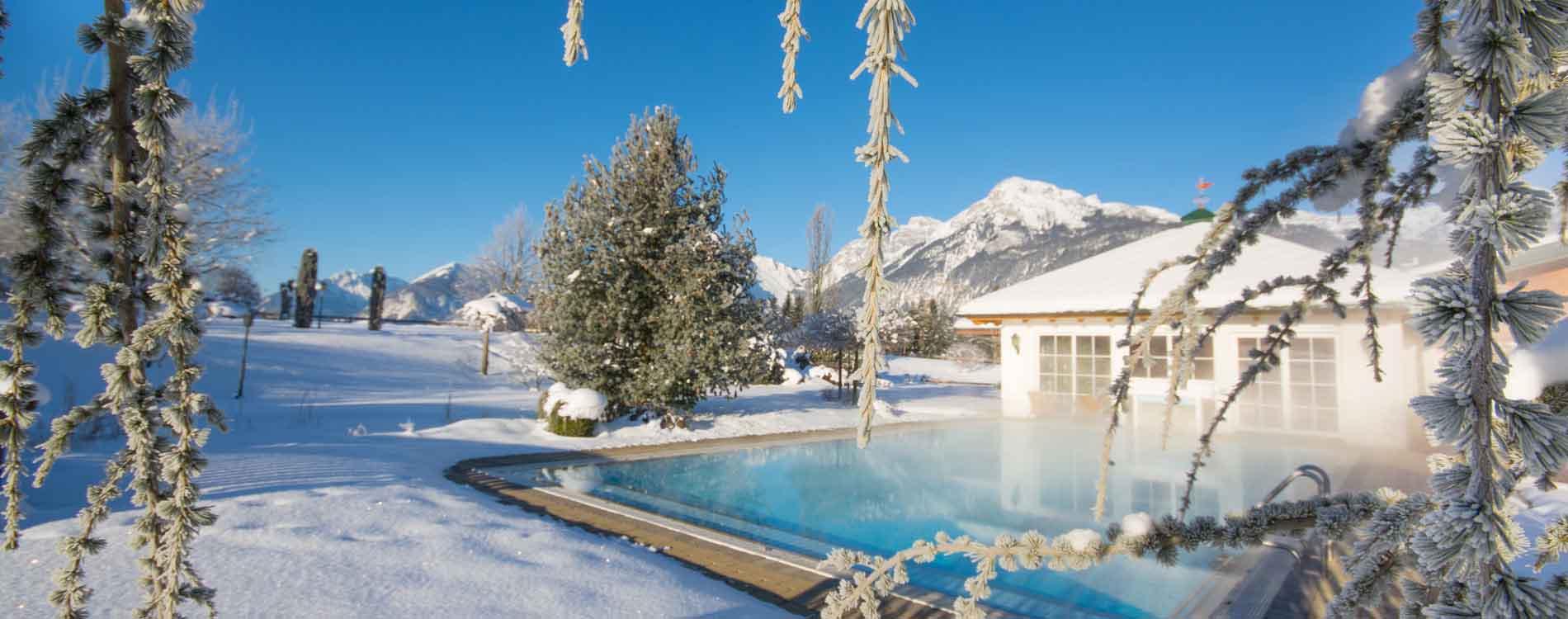 Pirchner Hof Reith Alpbach Valley Tyrol Holistic Hildegard von Bingen Naturopathy rejuvenation week Outsidepool Winterholidays