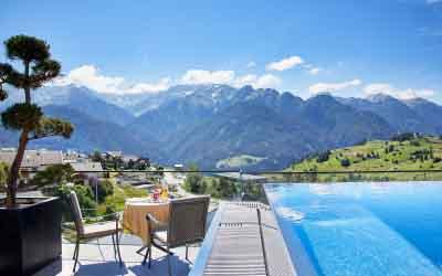 Hotel Tirol Fiss Serfaus-Ladis-Fiss Tyrol Austria Lifestyle-Hotel Holidays Rooftop infinity pool