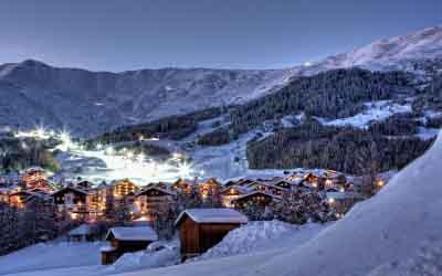 Hotel Tirol Fiss Serfaus-Ladis-Fiss Tyrol Austria Lifestyle-Hotel Winter Holidays Skiing Fiss at Night in Winter