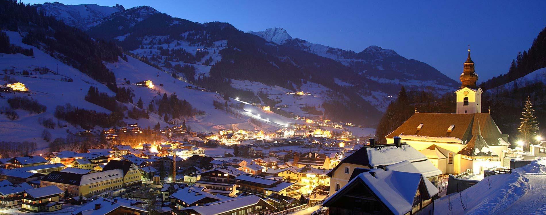 New Year ski deal - Niche Destinations 4-star-superior hotel GROSSARLER HOF mountains night view