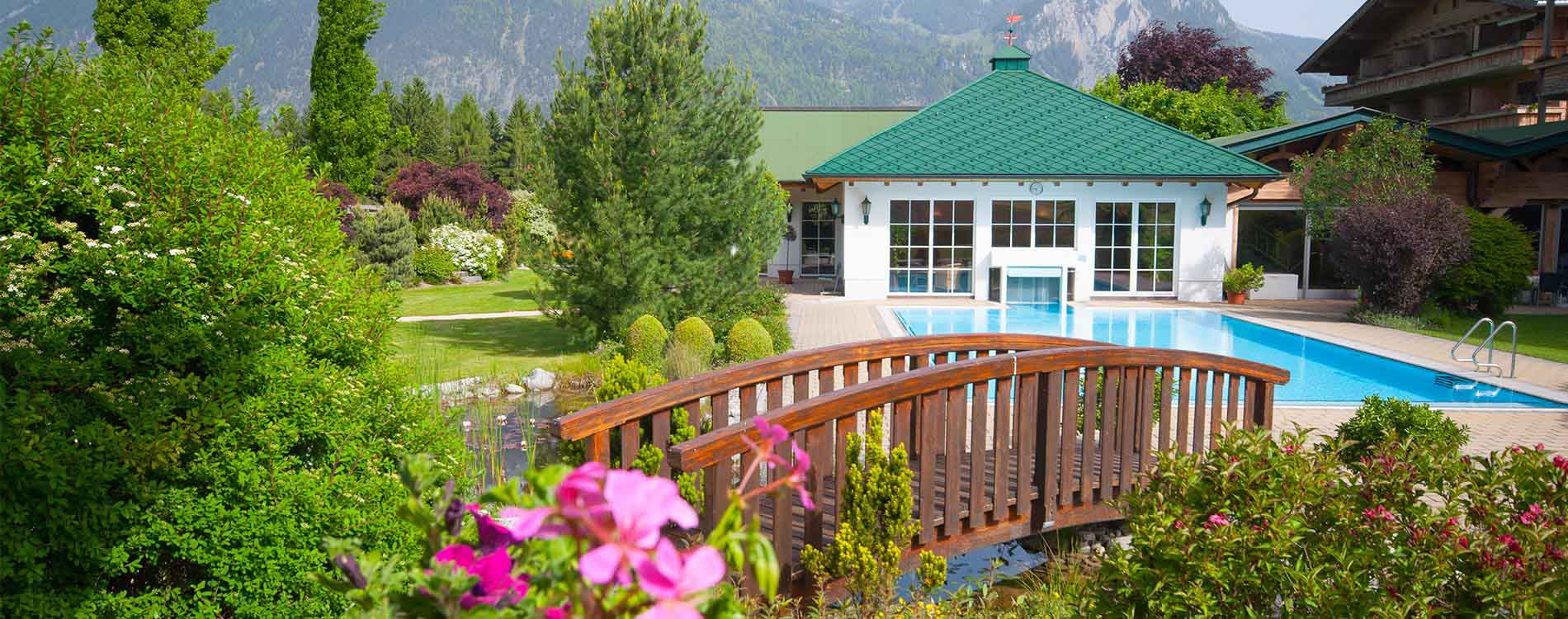 Pirchner Hof Reith Alpbach Valley Tyrol Holistic Hildegard von Bingen Naturopathy rejuvenation week Outsidepool Summer holidays