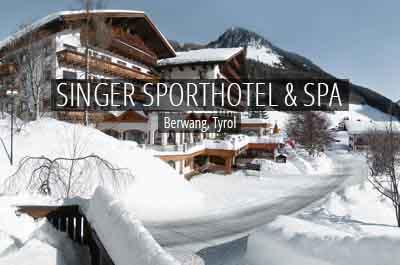 niche destinations Singer Sporthotel SPA 4 Star Stuperior Berwang Tyrol Austria Tyrolean Zugspitz Arena Hotel Outside Winter