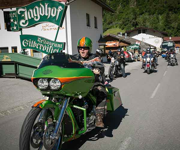 17th Harley-Davidson meeting at 5-star Relais & Châteaux SPA-HOTEL Jagdhof in Neustift in Tyrol, Austria