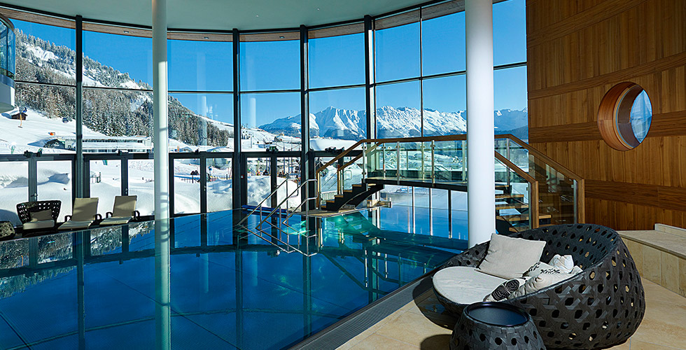 ski-in ski-out at 5-star hotel Schlosshotel Fiss Tyrol Austria Aqua Monte winter