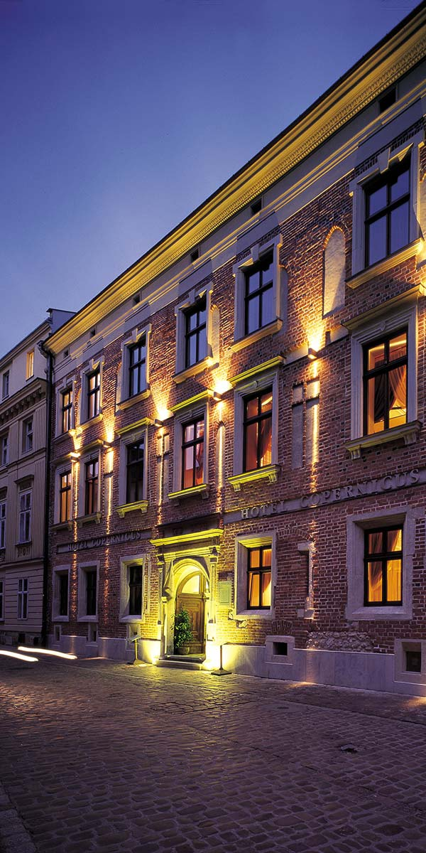 Relais Chateaux Hotel Copernicus Krakow Poland Entrance Exterior shot at night
