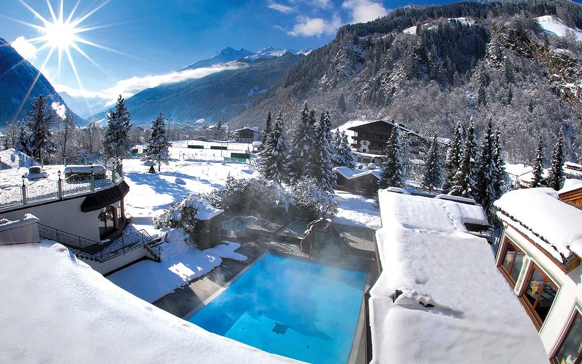 5 star Spa Hotel Jagdhof Neustift Tyrol heated outdoor pool